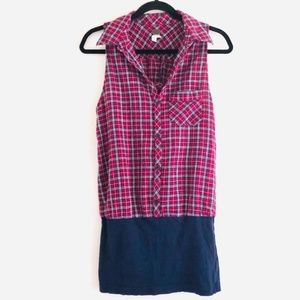 free people Plaid & Navy Racerback Bodycon Dress